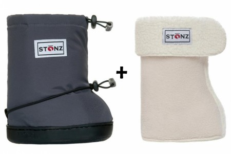 Stonz Toddler Booties (str M-L) Grey + Liners